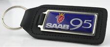 SAAB 95 Quality Black Leather Keyring