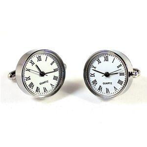 White Functional Clock Watch Quartz Circle Cufflinks + Box & Cleaner