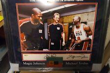 Michael Jordan, Larry Bird Signed Auto Framed 16x20 92 DREAM TEAM PHOTO UDA COA