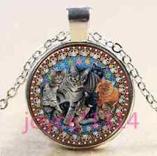 Vintage Cat Cabochon Tibetan silver Glass Chain Pendant Necklace #3395
