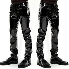 Men Faux Leather PVC Pants Trousers Long Shiny Club Dance Wear Punk Gothic Loose