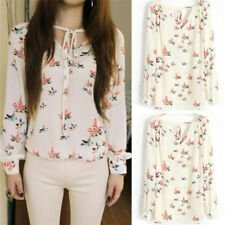 Women Ladies Chiffon T Shirt Floral Print Long Sleeve Blouse Casual Tops LJ