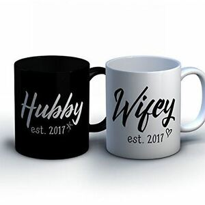 Personalized Husband and Wife Coffee Mugs - Custom Hubby and Wifey Names - With
