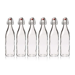 Seacoast Clear Thick Glass Bottles with Swing Top Stoppers, Food-Safe,