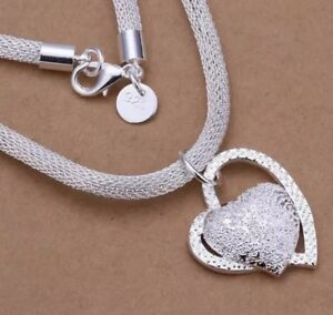 925 Sterling Silver Sp Heart Crystal Snake Chain Necklace Pendant Women's Jewell