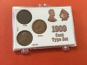 1909 Penny Variety Set:Lincoln Cents(09, 1909VDB) & Ind. Head IN Snaplock Holder