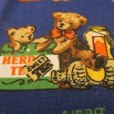 """Baby fabric blend canvas Navy Blue teddy bear patch remnant 11""""x45"""""""