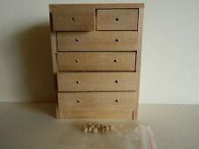 (H19) DOLLS HOUSE BAREWOOD CHEST OF DRAWERS