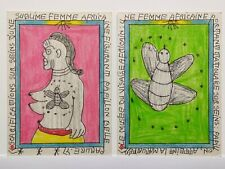 2X FREDERIC BRULY BOUABRE - SIGNED ORIGINAL AFRICAN TRIBAL ART WOMAN DRAWINGS.