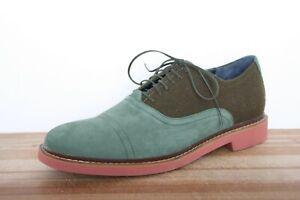 COLE HAAN 'Air Harrison' Green Nubuck Leather & Wool Oxfords Sz. 12M