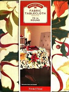 """Holiday Time Tablecloth Poinsettia Scroll Christmas Fabric 70"""" Round"""