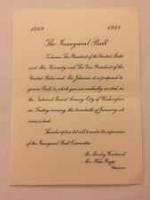 Original 1961 President John Kennedy THE INAUGURAL BALL INVITATION Inauguration