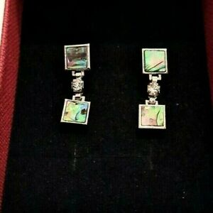 Vintage Earrings Abalone Mexican Silver Quality Free UK Postage