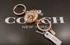 NWT COACH SIGNATURE C Gold Tone Turn Lock Valet Key Chain Ring FOB 65501