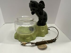 Vintage 1950s 60s Cat And Fish Bowl Ceramic TV Lamp Light