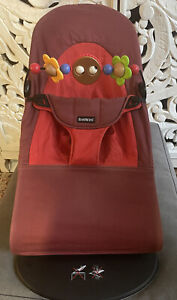 Babybjorn Bjorn Bouncer in Red with Wooden Toy Bar Included. GREAT CONDITION!