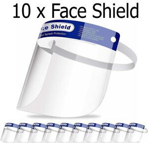 10 Full Face Shield Anti-Fog Visor Reusable Plastic Safety Mask Visor Guard UK