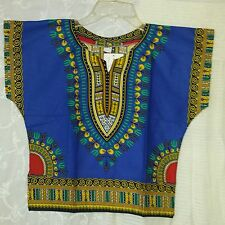 African Kids Boys Gilrs Dashiki Top Hippie Blouse Blue Yellow Black Free Size