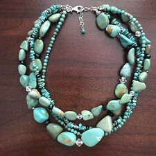 Silpada Turquoise Obsidian Crystal Silver 4-Strand Necklace Retired N1299