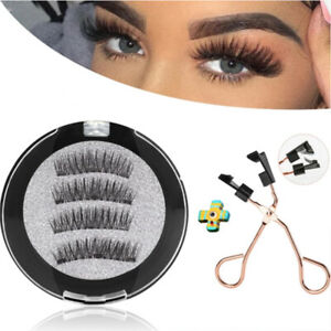 4PCS Professional Magnetic Eyelashes Fake False Lashes Kit + Applicator Set ^