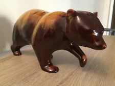 Large Blue Mountain Pottery Canada - Brown / Yellow Bear Figurine  (520)