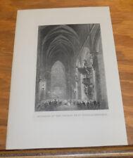 c1840 Antique Print///INTERIOR OF CHURCH OF ST GUDULE, BRUSSELS, BELGIUM