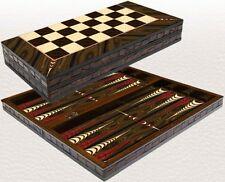"""BACKGAMMON & CHECKRS (DRAUGHTS) SET-WOODEN BOARD GAME-YENIGUN WALNUT DESIGN 20"""""""