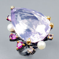 Top AAA30ct Natural Lavender Amethyst 925 Sterling Silver Ring Size 8.75/R124905