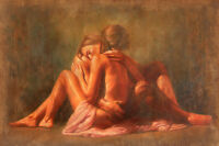 Stunning Oil painting romantic young lovers together free postage for all buyers