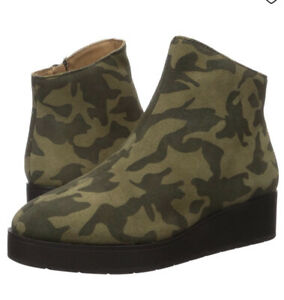 Lucky Brand Karmeya Ankle Boots Wedge Waterproof Suede Olive Green Camo 12 $129