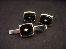 Old Vtg Cuff Links Tie Clip Bar SilverTone Black Stone Faux Square
