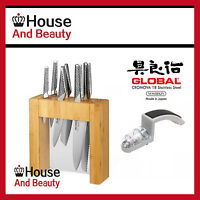 Global Ikasu 7 Piece Knife Block Set + 2 Stage Minosharp Ceramic Water Sharpener