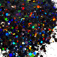 Black Holographic Chunky Glitter For Crafts, Resin, Nails, Makeup & Tumblers