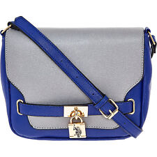 US Polo Assn spalla MESSAGGERI Borsa Tracolla Royal Blu & Grigio Autentico