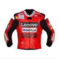 Chaz Davies Ducati SBK 2020 Leather Racing Jacket Lenovo Mission Motorbike Red