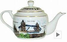 London Tea Pot Teekanne Keramik 17 cm,England Souvenir,Tower Bridge,Big Ben,Neu