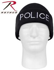 Black Police Watch Cap Winter Hat Embroidery Acrylic Knit Beanie Rothco 5443