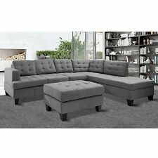 Merax 3-piece Reversible Sectional Sofa with Chaise and Ottoman, Suede Fabric