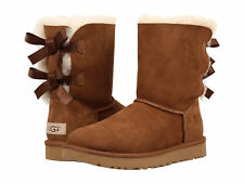 Women UGG Bailey Bow II Boot 1016225 Chestnut Suede 100% Authentic Brand New