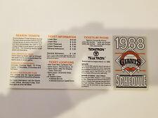 San Francisco Giants 1988 MLB Baseball Pocket Schedule - Ticketron