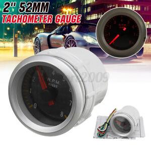 Universal 2'' 52mm Auto Car Tachometer Gauge Meter Rev Tacho 0-8,000 RPM w/  #