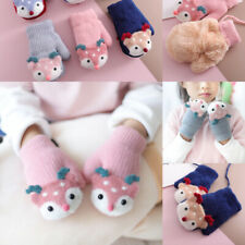 Kids Winter Knit Wool Mittens Cartoon Animal Velvet Thick Keep Finger Warm Glove