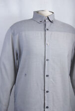 L201/41 Peter Werth N.1Long Sleeved Cotton Striped Round Oxford Collar Shirt, L