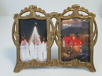 Small Vintage Style Brass Double Picture Frame