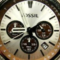 Fossil Chrono Mickey Mouse Glo Leather Military Date Tachy WR New Batt Men Watch