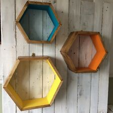 3* HEXAGON SHELVES GEOMETRIC SCANDI RETRO MARVEL DISPLAY YELLOW ORANGE TEAL GIFT