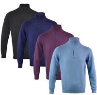 Mens Knitted Cotton Cashmere Mix Long Sleeve Plain 1/4 Zip Funnel Top M - XXL