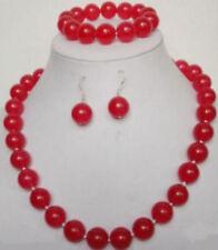 Natural 10mm Red Jade Necklace Bracelet Earrings Set JN1802