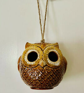 Coyne's & Co. Hand Glazed Porcelain Owl Hanging Birdhouse