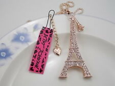 Betsey Johnson Cute fashion inlay Crystal Eiffel Tower  Pendant Necklace #A266M
